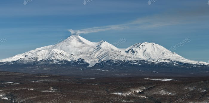 Panorama view of Volcanoes of Kamchatka: Avacha Volcano and Kozelsky Volcano