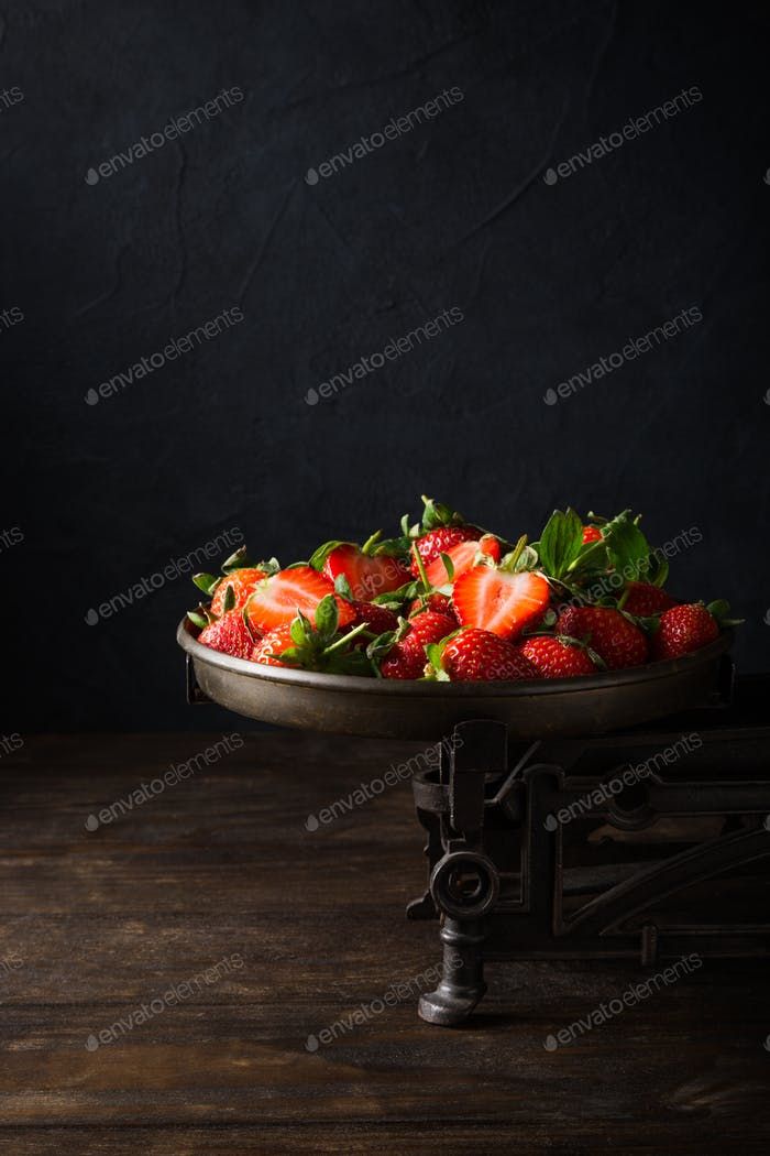 Thumbnail for Fresh strawberries on vintage scales