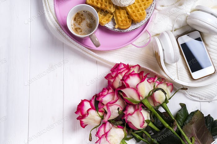 Coffee with waffles and roses. Valentine's Day or 8 march . Delicious Breakfast.