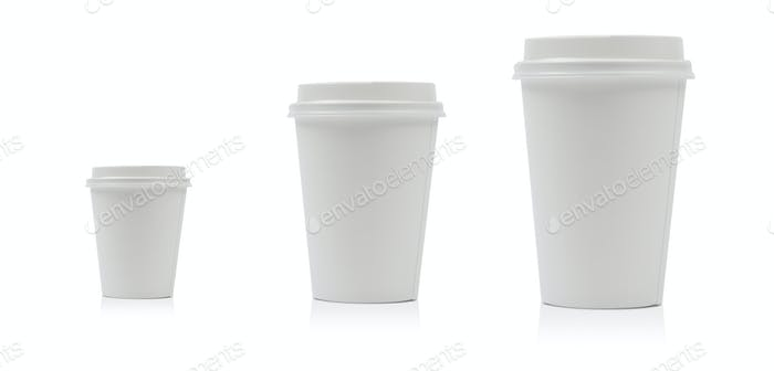 Takeaway paper coffee cup isolated on white background including clipping path