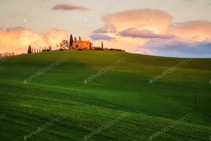 Sunset in the heart of Tuscany