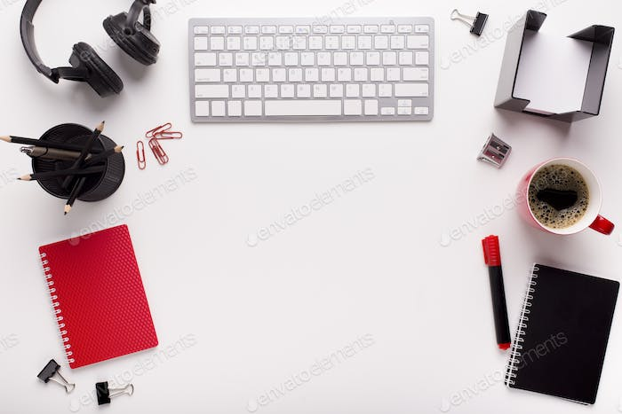 Modern and creative office or school stationery on white table