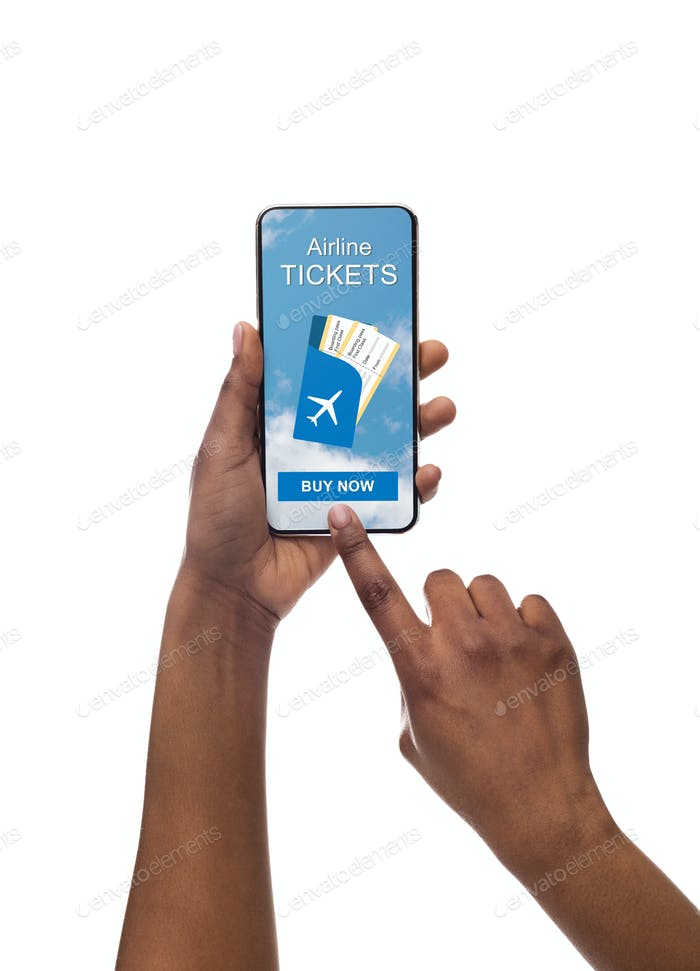 Closeup Of Afro Woman's Hand Booking Flight On Mobile App