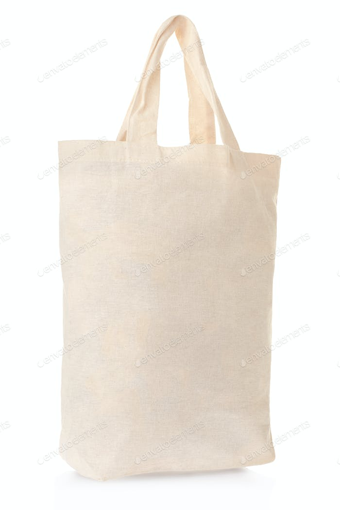 Fabric canvas bag isolated on white