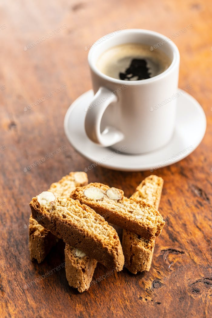 Sweet italian cantuccini cookies. Almonds biscuits with coffee.