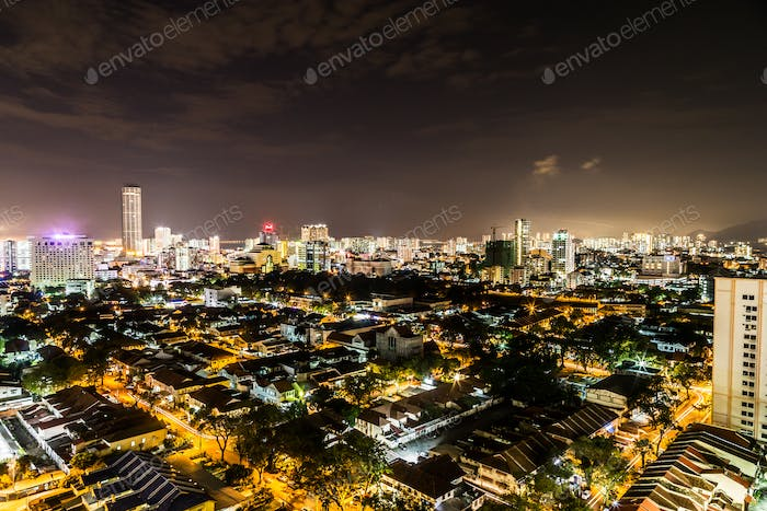 Night cityscape view of the scenic Georgetown Penang Malaysia