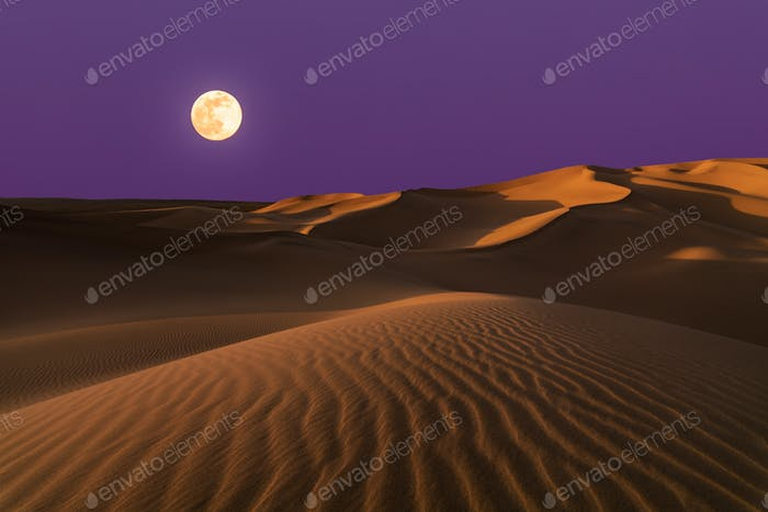 Amazing views of the Sahara desert under the full moon
