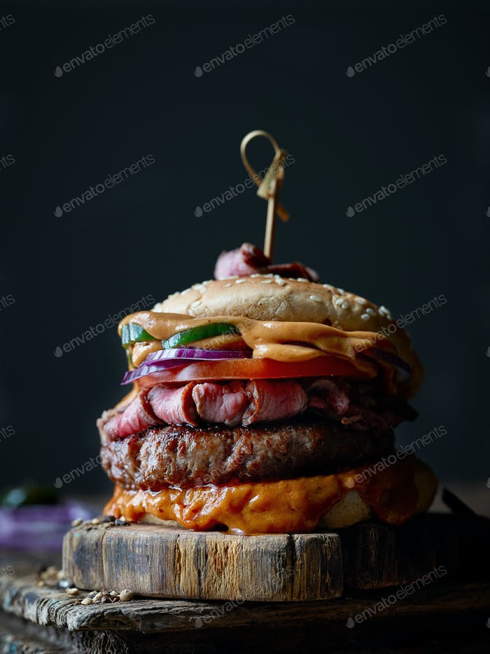 fresh tasty steak burger