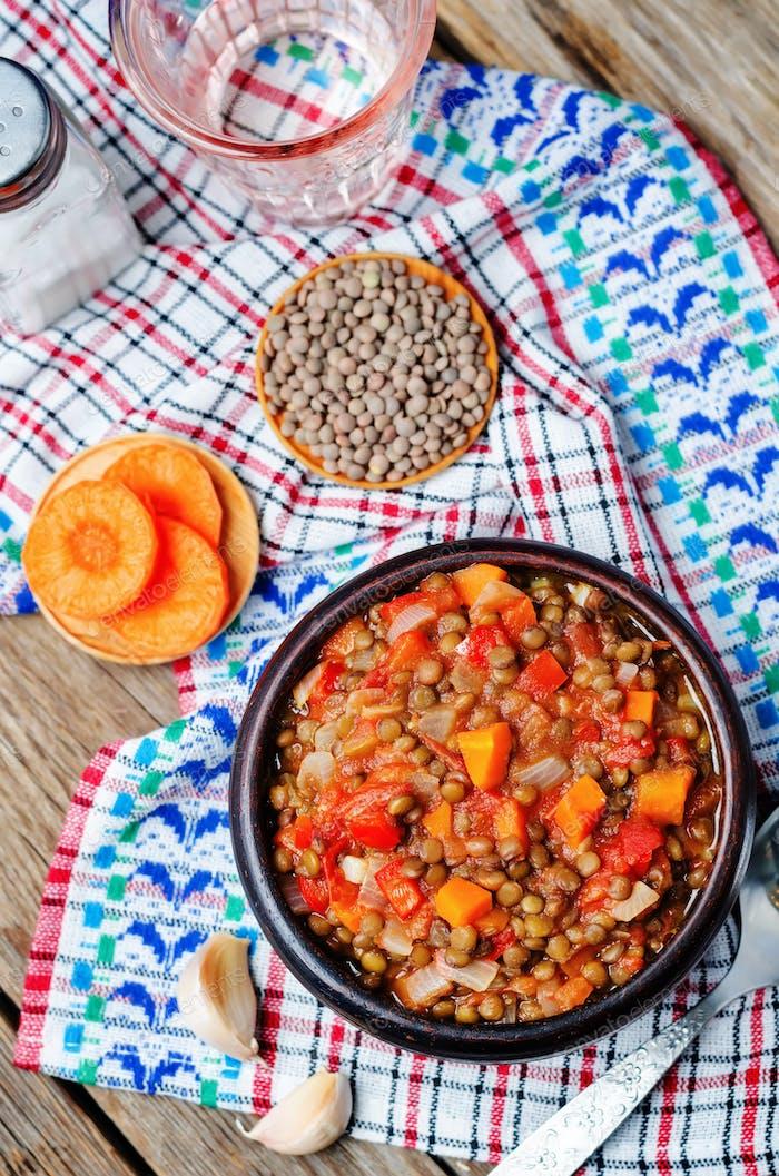 Vegan green lentil tomatoes stew