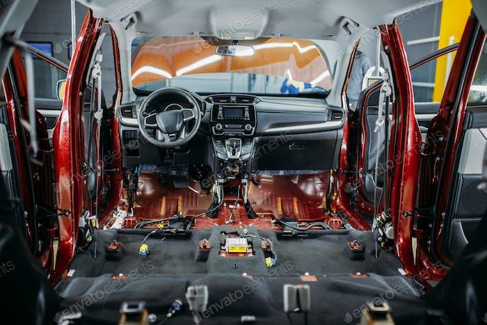 Deep car tuning, disassembled vehicle interior