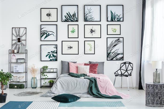Designer chair in bright bedroom