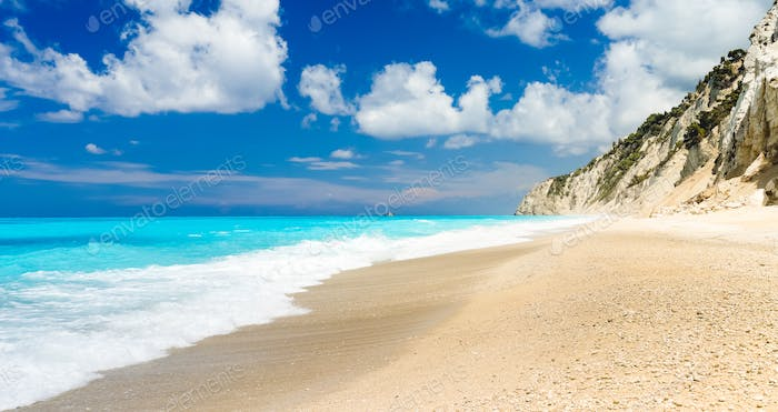 The famous Egremni beach (Lefkada,Greece)