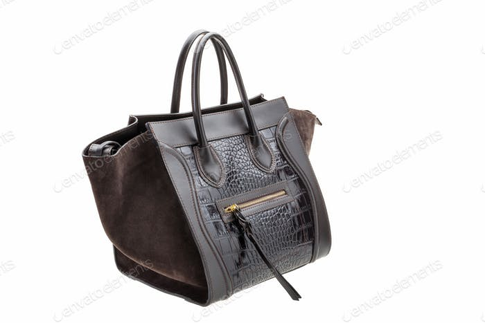 Dark chocolate leather womens bag isolated on white background.