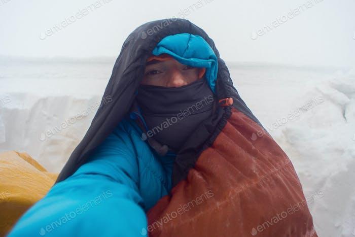 winter camping misery selfie