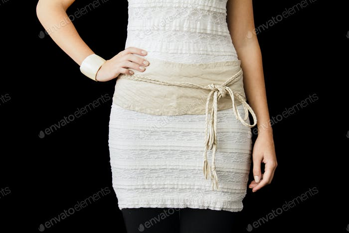 Beige Dress cropped at the Waist