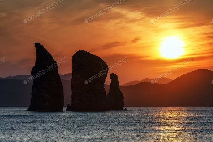 Beautiful Rocks in Pacific Ocean at Sunset