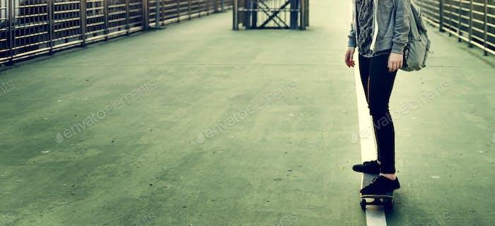 Yougn Girl Skateboard Outdoors Urban Concept