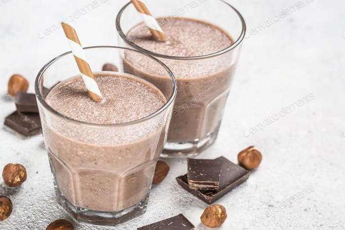 Chocolate coconut hazelnut milkshake or smoothie top view