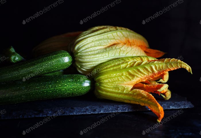 Zucchini  with flowers