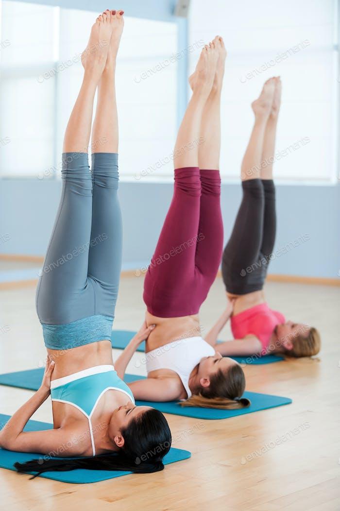 Women stretching.