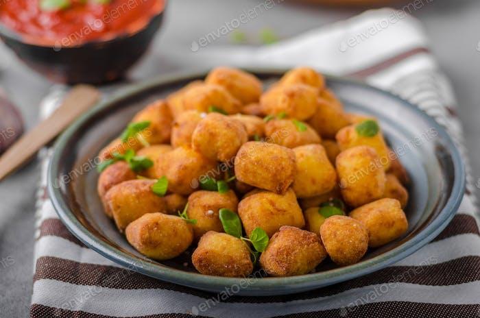 Homemade fried mini croquettes