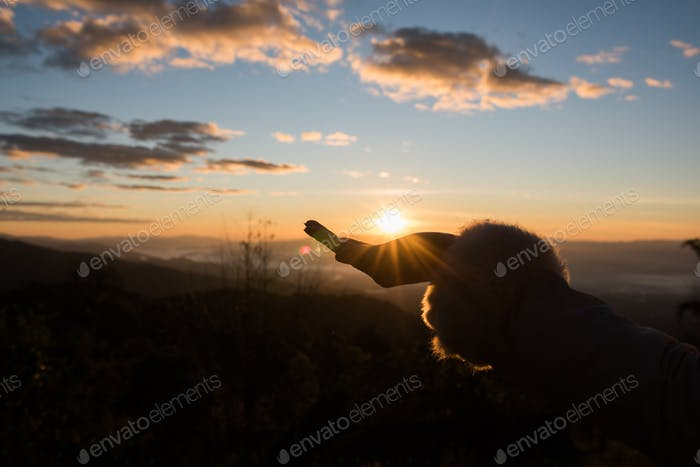 Silhouette of hand female holding sunlight