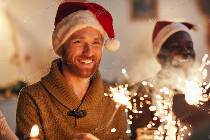 Adult Man Enjoying Christmas Celebration