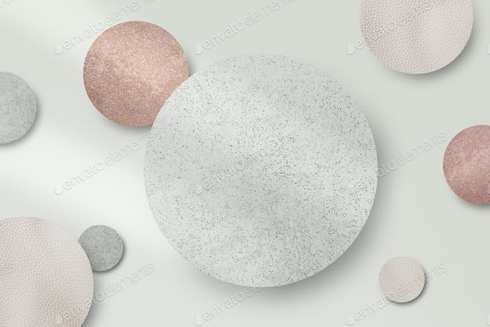 Shimmery silver and pink round pattern  background vector