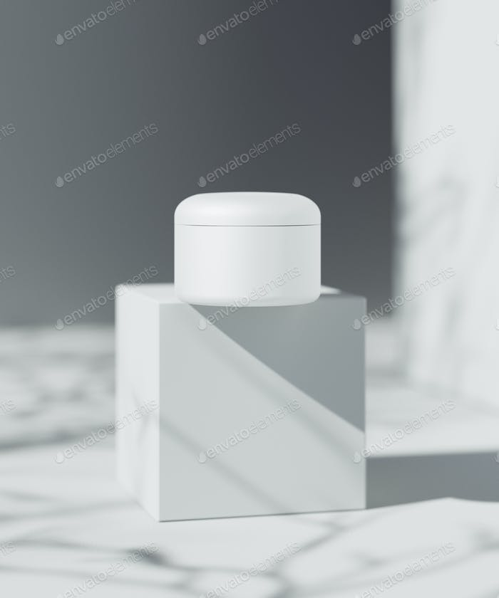 Natural Cosmetic product presentation scene. Ourdoor placement. White blank Jar. 3d illustration