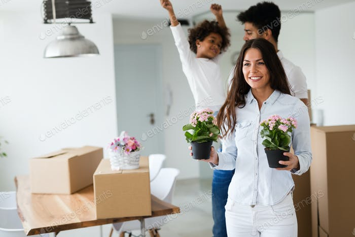Family moving into their new home