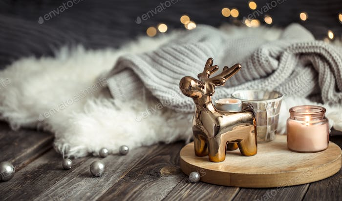 Christmas festive background with toy deer
