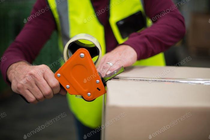 Factory worker sealing cardboard boxes