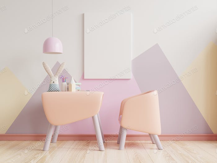 Mock up poster in the children's bedroom in pastel colors on empty pastel colors wall background.