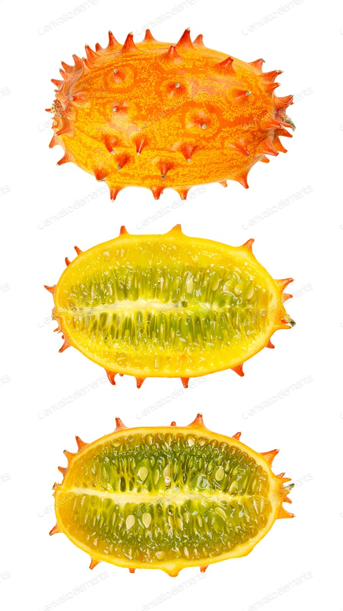 Kiwano, horned melon, whole and half fruit isolated over white