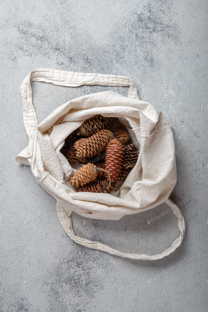 Zero waste Christmas concept. Natural Chirsmas decoration, pine cones and branches in linen bag