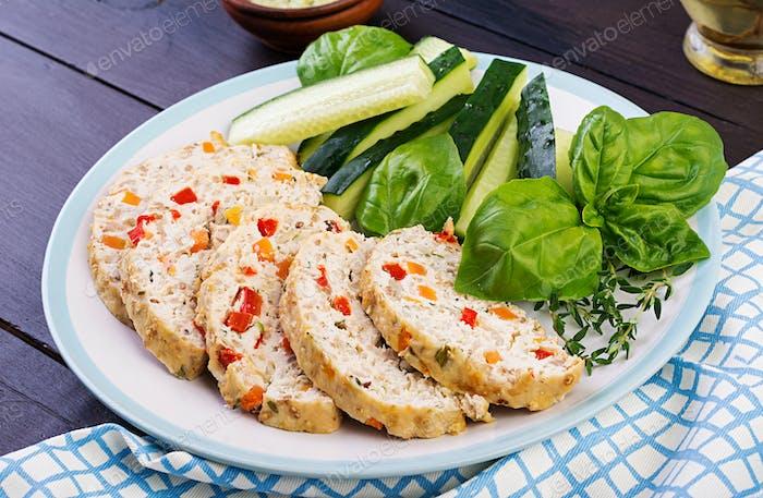 Chicken meat loaf with vegetables. Healthy meatloaf.