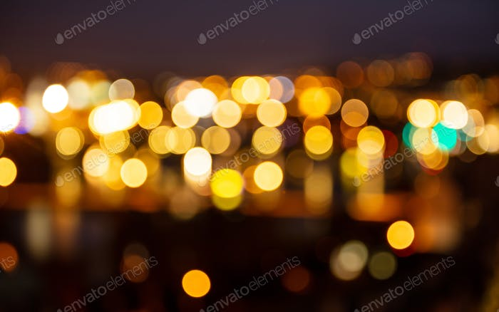 City lights at night bokeh defocused background
