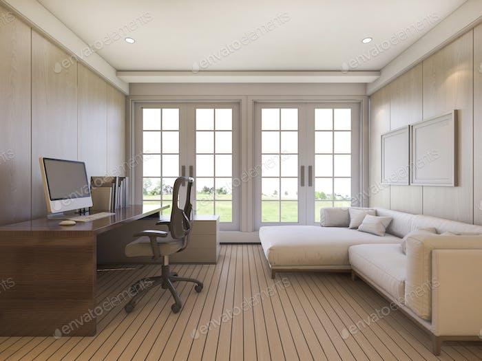3d рендеринг красивый вид гостиная с диваном и рабочим столом