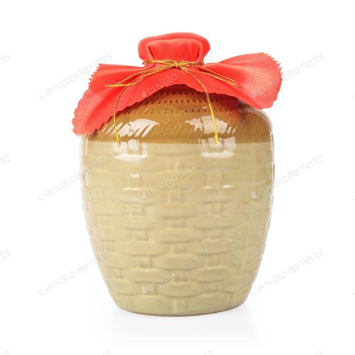 rice wine jar on white background