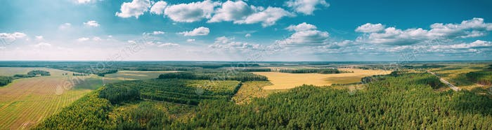 Aerial View Of Agricultural Landscape With Fields And Forest In Spring Season. Beautiful Rural