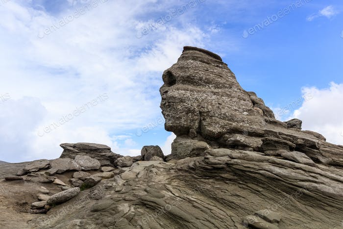 Sphinx rock in Bucegi Mountains Carpathians Romania