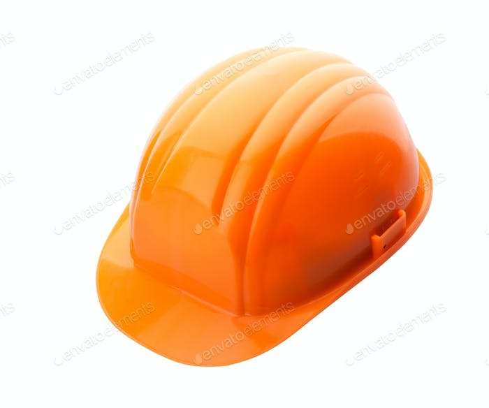 Orange helmet on white