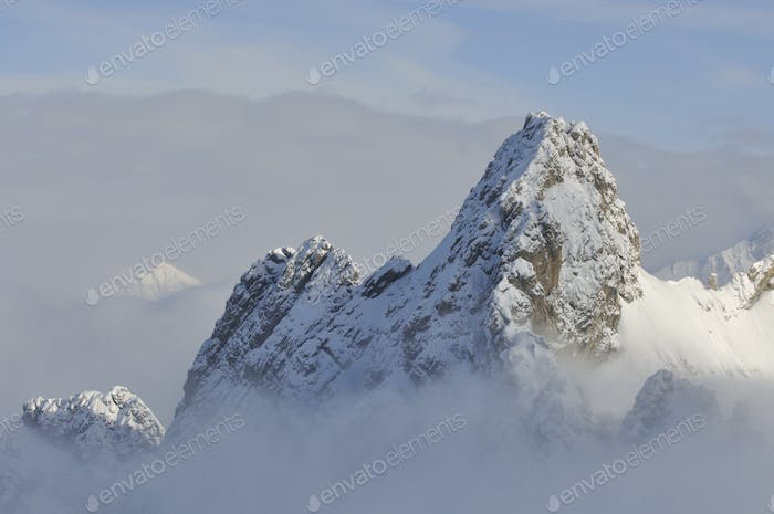 Mountains covered by snow in Voralberg, Austria