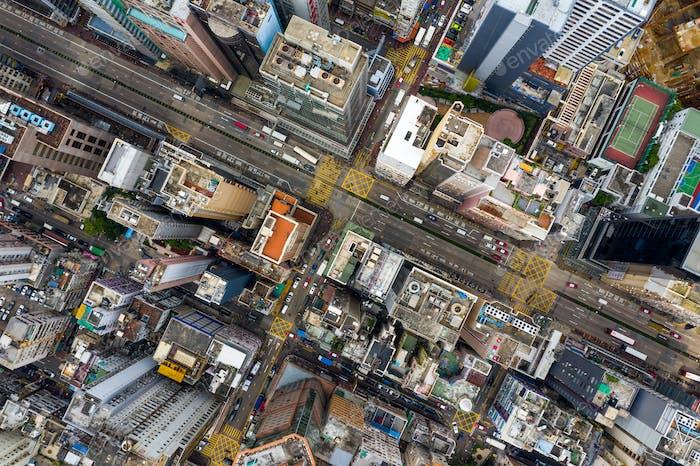 Mong Kok, Hong Kong 09 May 2019: Aerial view of Hong Kong city