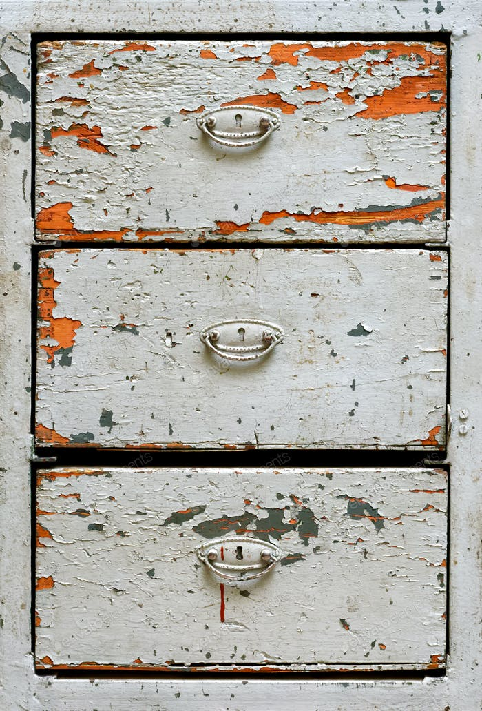 Very old painted drawers cabinet