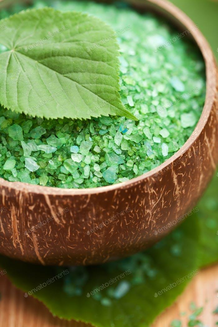 herbal salt and leaves