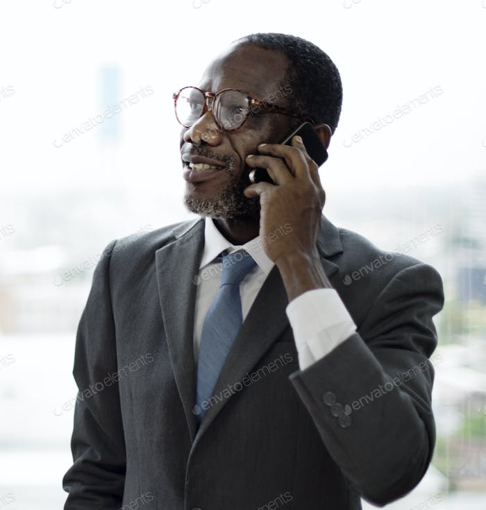 Businessman Talking Mobile Phone Business Deal Cocnept