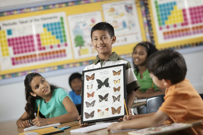 A boy standing in front of classmates, holding up a frame with butterfly specimens.