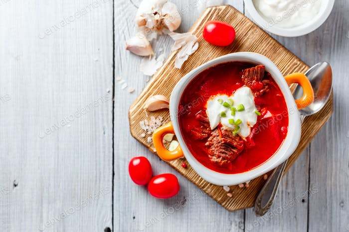 Borsch - ukrainian and russian national red soup