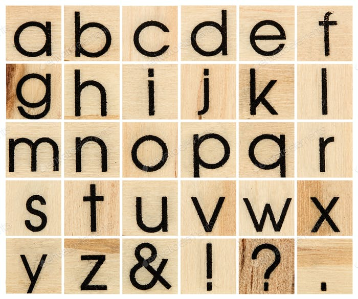 English alphabet lowercase, collage of isolated wood letterpress